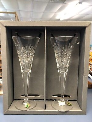 """WATERFORD CRYSTAL The Millennium Collection 2000 """"Health"""" Toasting Flutes w/Box"""