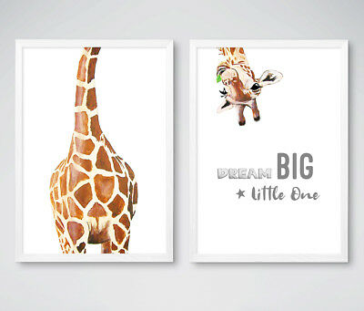 Dream Big Giraffe Animal Nursery Prints Set Childrens Bedroom Pictures Decor NEW