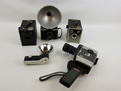Assorted Vintage Film Cameras and Accessories Lot of 5 Prop Stage Decor