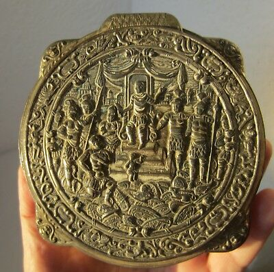 Antique  round oval metal box, embossed scene with emperor