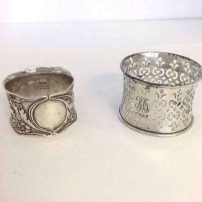 Vintage Gorham Sterling Silver Napkin Rings, One Is Monogrammed