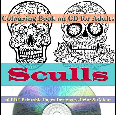 Colouring Books For Adults Sugar Skulls Printable Pages Designs Print 40 PDF CD