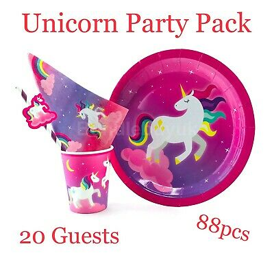 Unicorn Party Supplies Birthday Theme Tableware Decorations Plates Cups Napkins