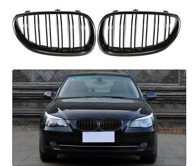 BMW E60 E61 M5 style gloss shiney black front kidney grilles grille double spoke