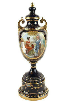 "ANTIQUE ROYAL VIENNA PORCELAIN URN 19TH CENTURY - 23"" High"