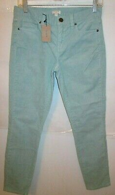J. CREW Ladies Sz 25 Sea Foam Green Corduroy Straight Pants Jeans Nwts Rtl $79