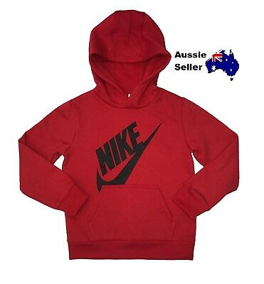 NEW! Nike Youth Junior Futura Fleece Hoody Big Logo Red Hoodie Pullover 86D605