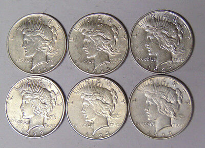 Lot of 6 Peace Silver Dollars 1922 1922-D 1922-S 1923 1923-D 1923-S F/VF