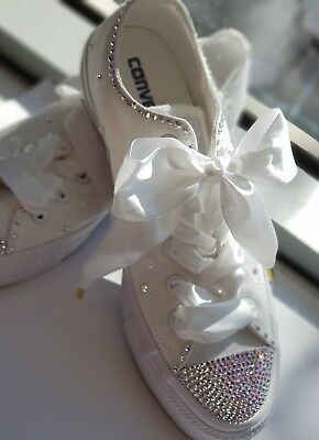 Every's bride dream is here!Crystal Converse Wedding Shoes- Hand made