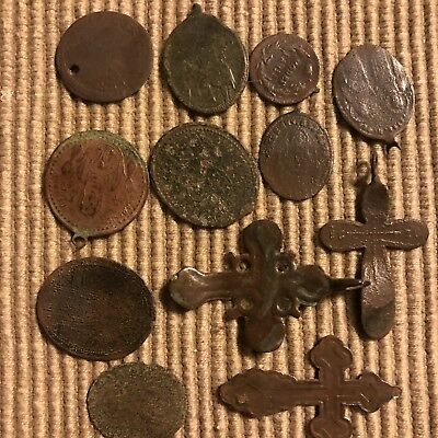 Medieval Artifacts Orthodox Russiam Christian Pendants Copper Brass Authentic #2