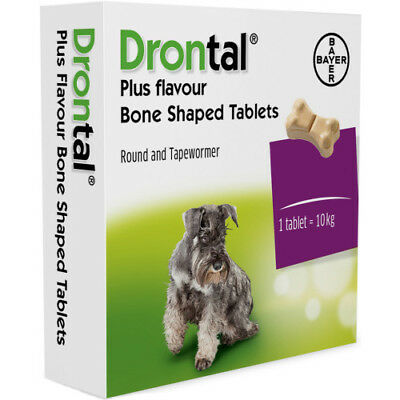 Drontal Plus flavored wormer for dogs puppies (6 tablets) Bayer made in Germany
