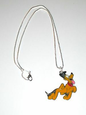 Disney's Mickey Mouse's Dog Pluto Enamel Pendant 925 Sterling Silver Necklace