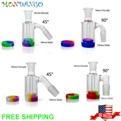 14MM 18MM Male Female 45 or 90 degree Glass Ash Catcher 8 Arm Green Blue Clear