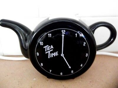 Teatime Clock Teapot Ceramic China Novelty Kitchen TeaPot Great cond Pickup only