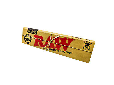 RAW Kingsize Slim Classic Natural Unrefined Rolling Papers Smoking Tobacco Paper