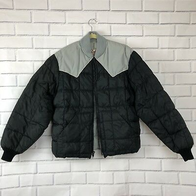 Walls Blizzard Pruf Size M Gray / Black Puffer Jacket Coat Vintage Quilted
