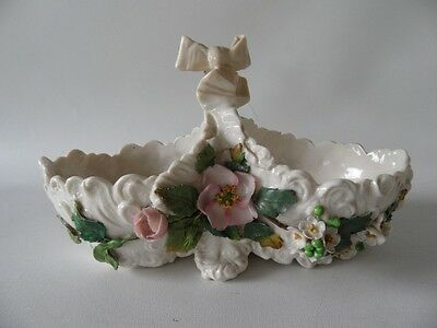 Repaired Antique German Majolica Floral Flowers Porcelain  Basket Large