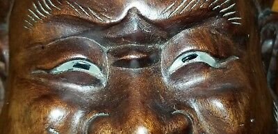 Antique Japanese Wood Mask Carving Hand Carved Glass Eyes