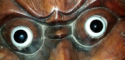 Antique Japanese Wood Mask Carving Hand Carved Glass Eyes Bird Chin