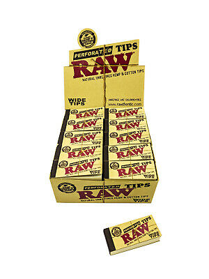 Box of 50 RAW Wide Natural Perforated Filter Tips Rolling Smoking Papers Tip
