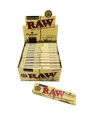 Box of 24 RAW King Size Slim Organic Hemp Natural Rolling Paper Tips Connoisseur