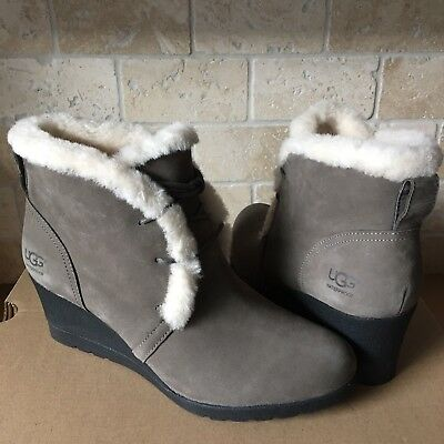 640b3d21ad15 Ugg Jeovana Mysterious Suede Waterproof Ankle Wedge Booties Boots Size 10  Womens