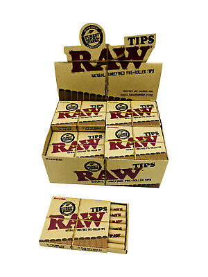 Box of 20 RAW Natural Pre Rolled Tips Easy Unrefined Rolling Smoking Tobacco