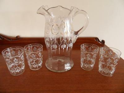 Antique Victorian 1880's American optic glass HP pitcher jug 5 pc lemonade set