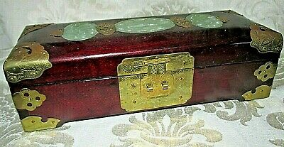 Antique Chinese Wood Box Triple Jade Stone Inlay Panels Silk Lined Brass Trims