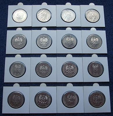 Poland Set Of Coins Prl 20, 50, 100 Zlotych Years 80 - 15 Pieces Lot 15 Pcs Kpl