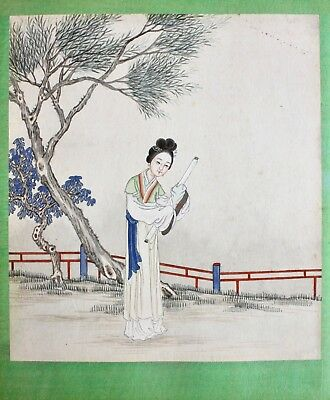 Chinese 20th c. Painting on Paper, Lady in a Landscape holding a Scroll Painting