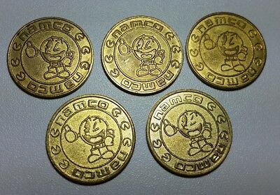 5 x NAMCO Pac-Man & Ghost Gold coloured brass machine gaming tokens 24 mm