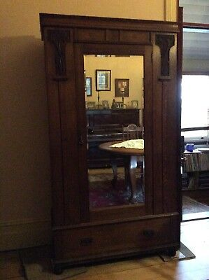 Oak Art Nouveau Wardrobe