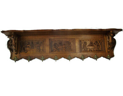 XL Hand Carved Wood Oak Coat Hat Kitchen Hallway Rack Breughel Scenes Lovely