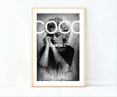 Marilyn Monroe black and white newspaper miss coco painting drawing print/poster