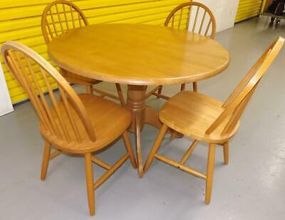 Incredible Round Beech Dining Table With Four Hoopback Chairs Kitchen Customarchery Wood Chair Design Ideas Customarcherynet
