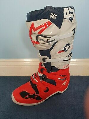 Alpinestars tech 7 motocross boots light grey and red size us 11