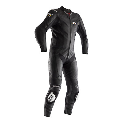 RST IOM TT Grandstand 1PC Motorcycle Leather Race Suit -CE APPROVED- Black/Black
