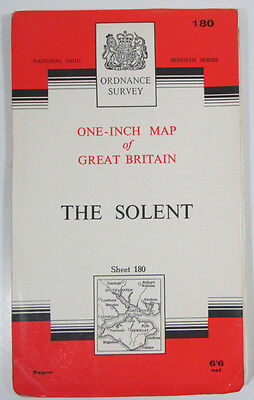 1966 old vintage OS Ordnance Survey Seventh Series one inch map 180 The Solent