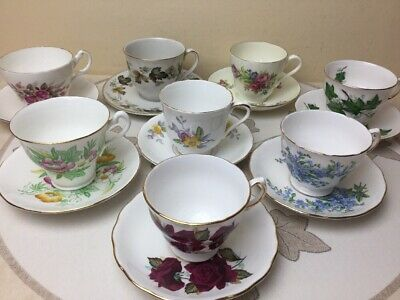 Job Lot Vintage Bone China 8 x Cups Saucers Floral Multi Colour Wedding MisMatch