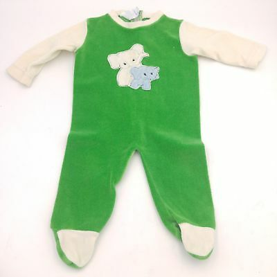 Vintage Toddler Green/White Elephant Rear Zip One Piece Outfit w/Feet - Size 12M