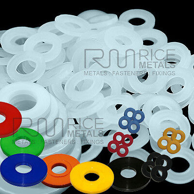 Nylon Penny Washer plastic M4 M5 M6 M8 M10 Natural Black Red Blue Yellow Green +