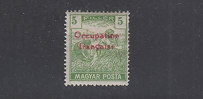 HUNGARY 1N3 Mint Hinged 1919 5F Green with Red Overprint SCV $20.00