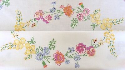 Vintage Linen Hand Embroidered Tablecloth English Country Garden Flowers