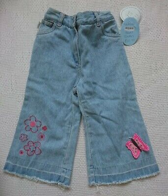 BNWT Baby Girls Jeans Loose Fit Blue Used Wash Age 12 Months