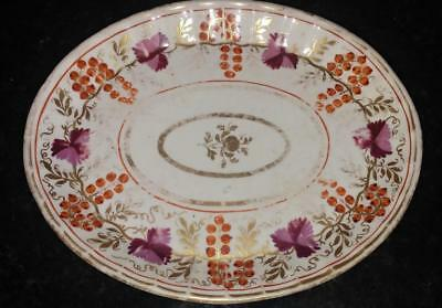 Pretty Georgian Hand Painted & Gilded Fruiting Vine Oval Dish C 1790+