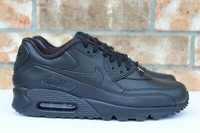 Men's Nike Air Max 90 Leather Triple All Black Running Shoes Size 9 302519-001