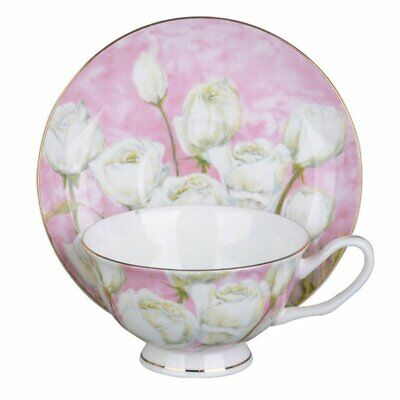 Rose with Pastel Pink Cup and Saucer