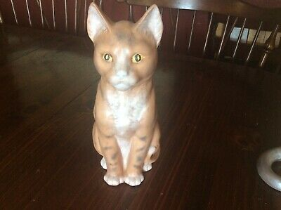 Vintage Ceramic CAT Sitting Hand Painted White And Tan Cat Figurine 11 Inches