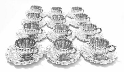 Rare Set of 12 Austro Hungarian Cups & Saucers 800 Silver ca. 1870